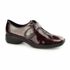 L3870-34 Ladies Patent Leather Touch Fasten Shoes Red