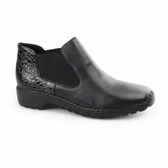 L6090-00 Ladies Leather Chelsea Boots Black