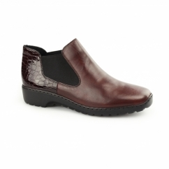 L6090-35 Ladies Leather Chelsea Boots Red
