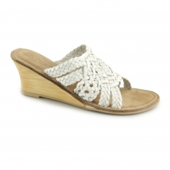 L6638 Ladies Leather Weave Open Toe Heeled Sandals White
