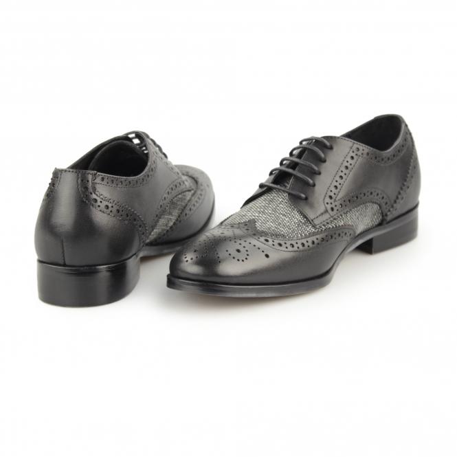 2cb86425ffb NOTILLA Ladies Leather/Canvas Wingtip Brogue Shoes Black/Grey