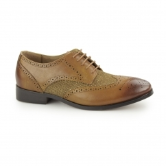 NOTILLA Ladies Leather/Canvas Wingtip Brogue Shoes Tan