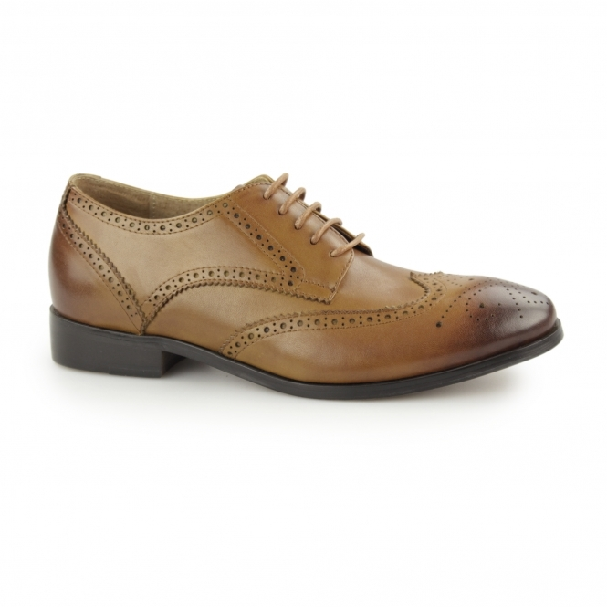 Laceys London NOTILLA Ladies Leather Wingtip Brogue Shoes Tan