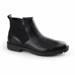 LACHLY CHEL Womens Leather Chelsea Boots Black
