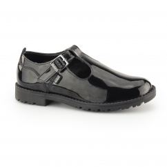 LACHLY T Girls T-Bar Leather Shoes Patent Black