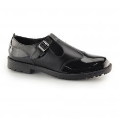 Kickers LACHLY T Ladies T-Bar Leather/Patent Shoes Black