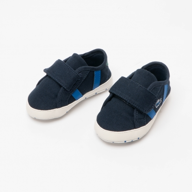 Lacoste Sideline Crib 120 1 Navy//Green Canvas Baby Soft Soles Shoes