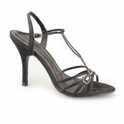 Ladies Ankle Strap Buckle Stiletto Heels Black