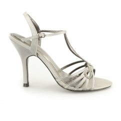 Ladies Ankle Strap Buckle Stiletto Heels Grey