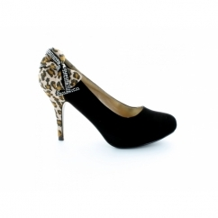 Ladies Black Court Shoes With Leopard Print And Bow Detail