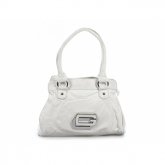 Ladies Faux Leather Two Handle Zip Shoulder Bag White