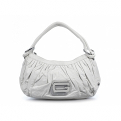Ladies Faux Leather Two Strap Zip Handbag White
