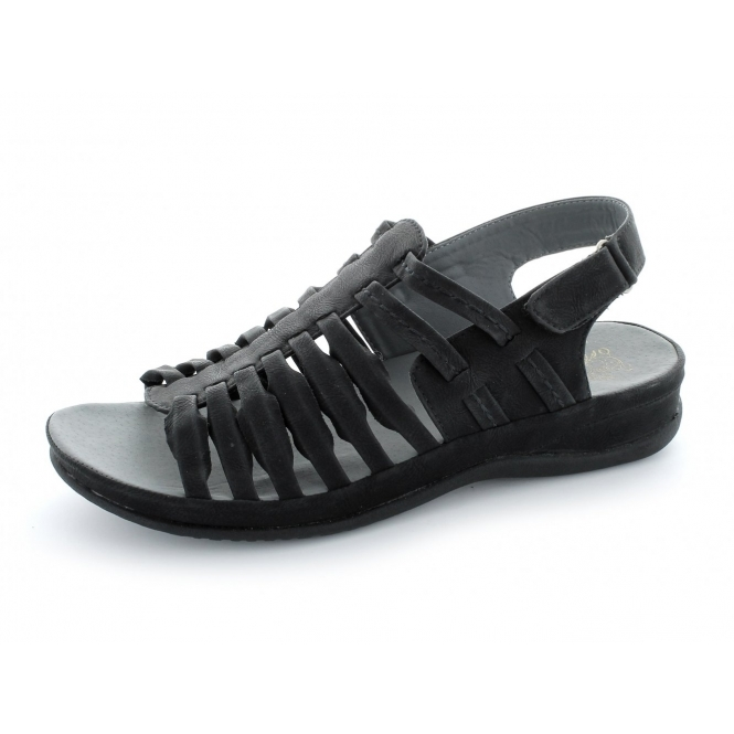 Gluv Ladies Faux Leather Velcro Strappy Sandals Black