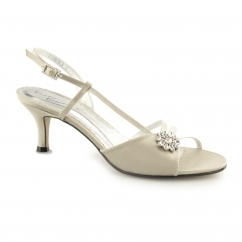 Ladies Slingback Buckle Kitten Heels Beige