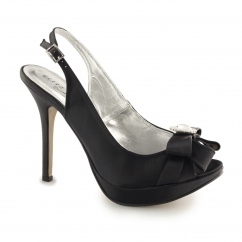 Ladies Slingback Buckle Stiletto Heels Black