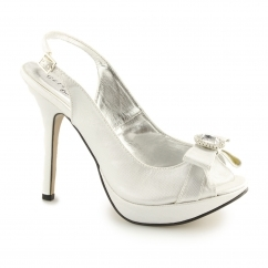 Ladies Slingback Buckle Stiletto Heels Silver
