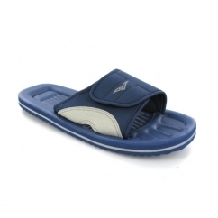 Ladies Velcro Strap Beach Flip Flops Blue