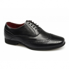 LAGOON Boys Leather Brogue School Shoes Black