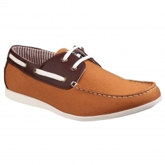 Lambretta RHODE ISLAND Mens Boat Shoes Tan/Brown