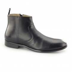 LANGDEN Mens Leather Zip Ankle Boots Black