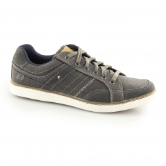 Skechers LANSON-MESTEN Mens Canvas Trainer Shoes Charcoal