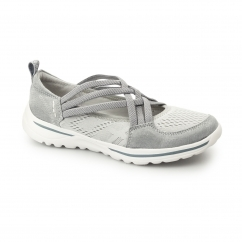 LAREDO Ladies Leather Cross Over Elasticated Shoes Grey