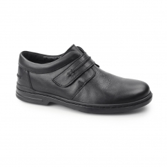 LARRY HANSTON Mens Leather Touch Fasten Shoes Black