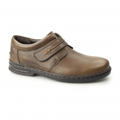 LARRY HANSTON Mens Leather Touch Fasten Shoes Brown