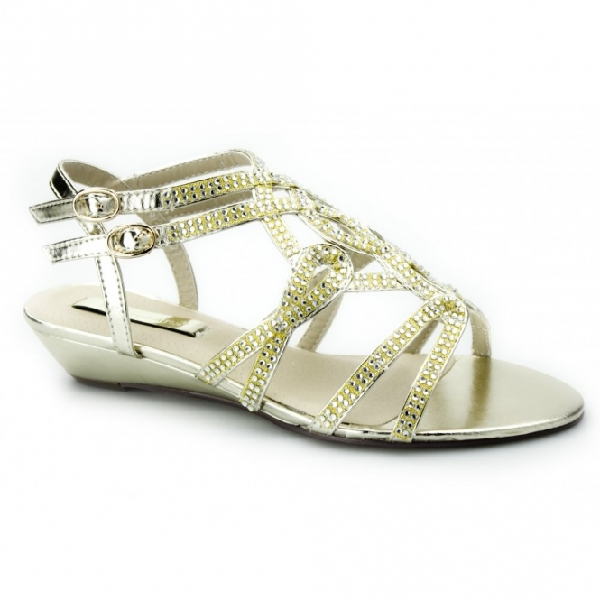Comfort Plus LATITIA Ladies Wide Fit Diamante Buckle Sandals Gold