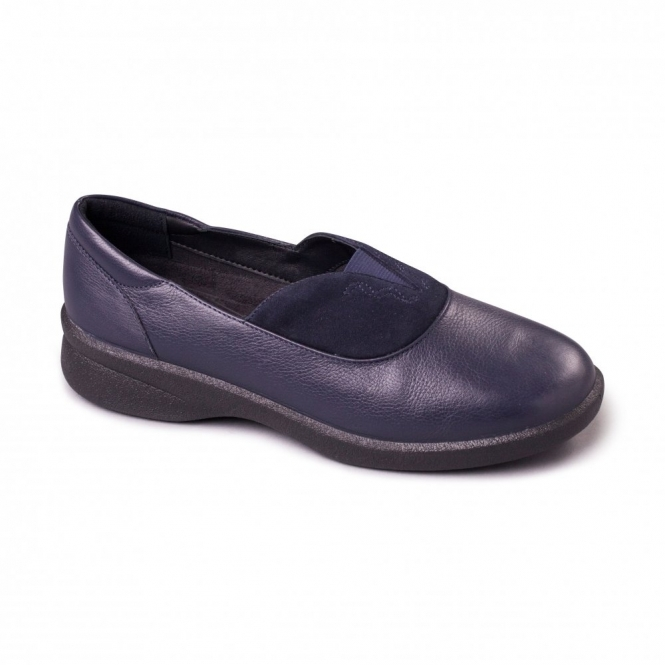 Padders LAUREN Ladies Leather EEE/EEEE Extra/Super Wide Shoes Navy