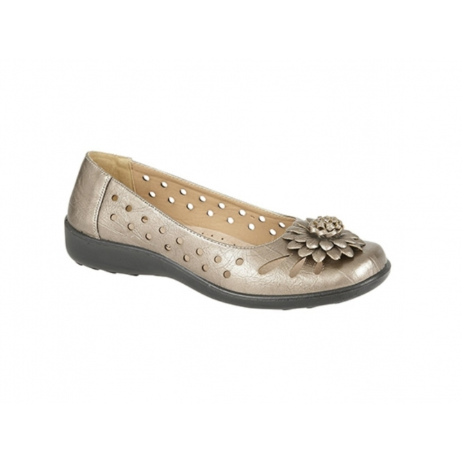 Boulevard LAURIE Ladies Floral Brooch Flats Bronze