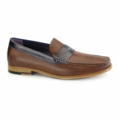 LAVENZO Mens Leather Textured Penny Loafers Tan
