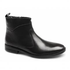 LEANDRO Mens Leather Zip Boots Black