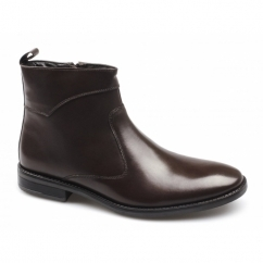 LEANDRO Mens Leather Zip Boots Brown