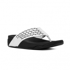 FitFlop™ AIX SLIDE™ Ladies Leather Crossover Sandals Silver