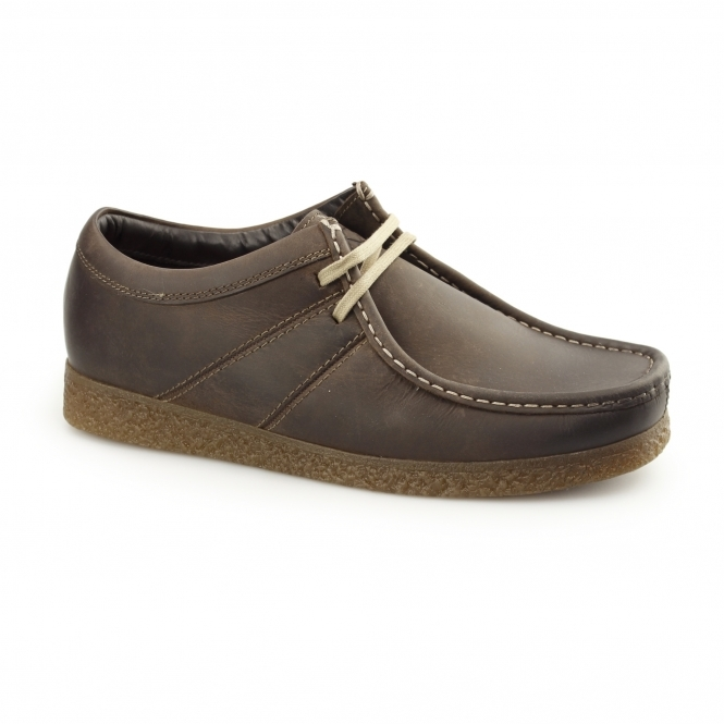 Base London LEGACY PULL UP Mens Leather Moccasin Casual Shoes Brown