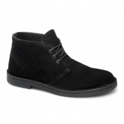 LENNY Mens Suede Leather Desert Boots Black