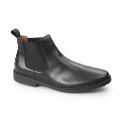 LEO Mens Leather Chelsea Boots Black