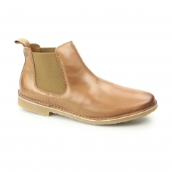 LEO Mens Leather Chelsea Boots Cognac