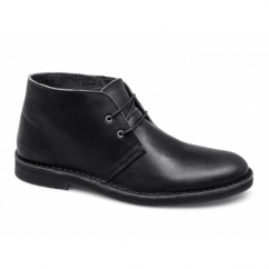 LEON LEATHER NOOS Mens Lace-Up Desert Boots Black