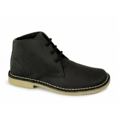 LEONARD Mens Square Toe Waxy Leather Desert Boots Black