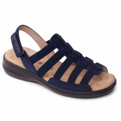 LESLEY Ladies Extra Wide Touch Fasten Slingback Sandals Navy
