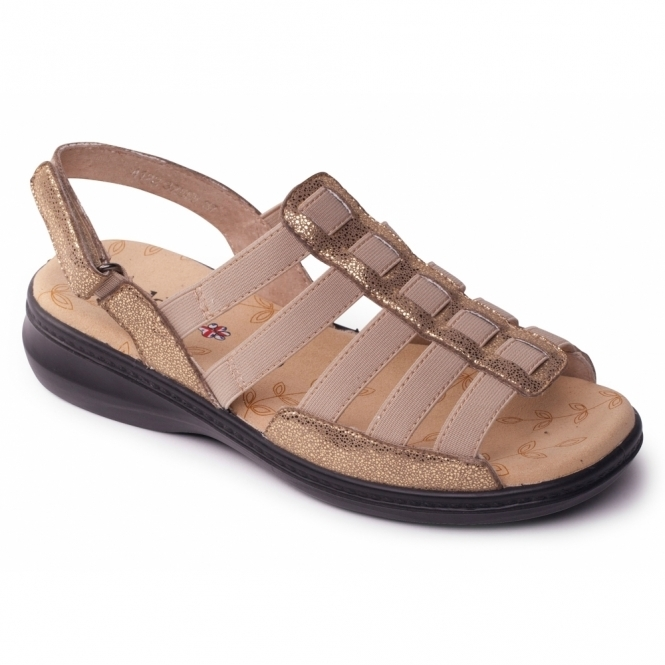 Padders LESLEY Ladies Extra Wide Velcro Slingback Sandals Gold