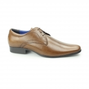 LEVEN Mens Leather Formal Derby Shoes Tan