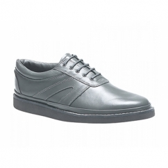LEVEN Unisex Leather Lace-Up Bowling Shoes Grey