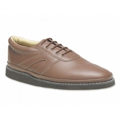 LEVEN Unisex Leather Lace-Up Bowling Shoes Tan