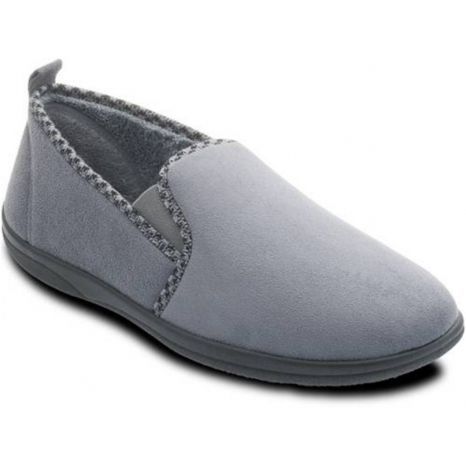 Padders LEWIS Mens Microsuede Wide (G) Fitting Full Slippers Grey