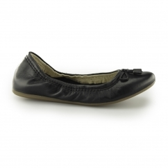 Hush Puppies LEXA HEATHER Ladies Leather Ballerina Shoes Black