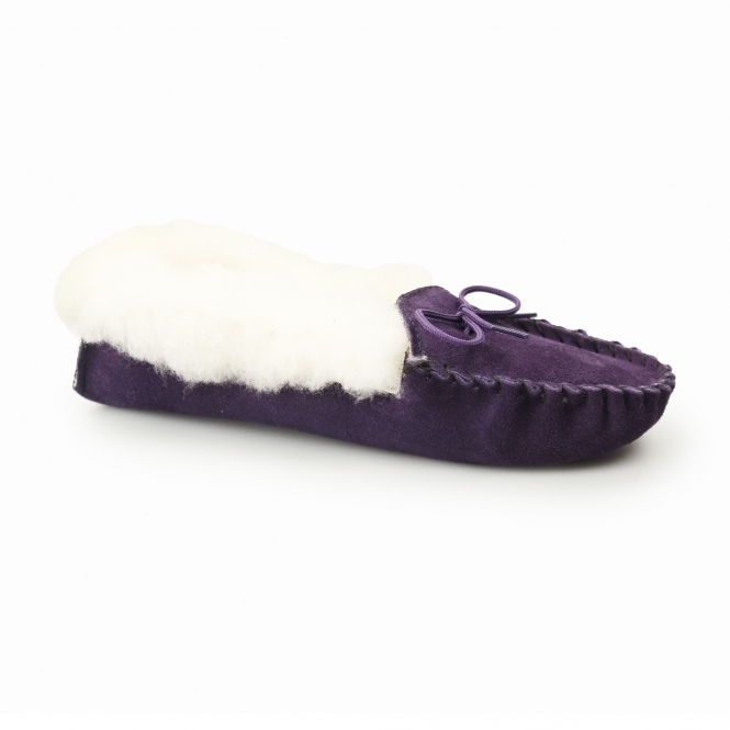Mokkers LIBBY Ladies Suede Moccasin Slippers Purple