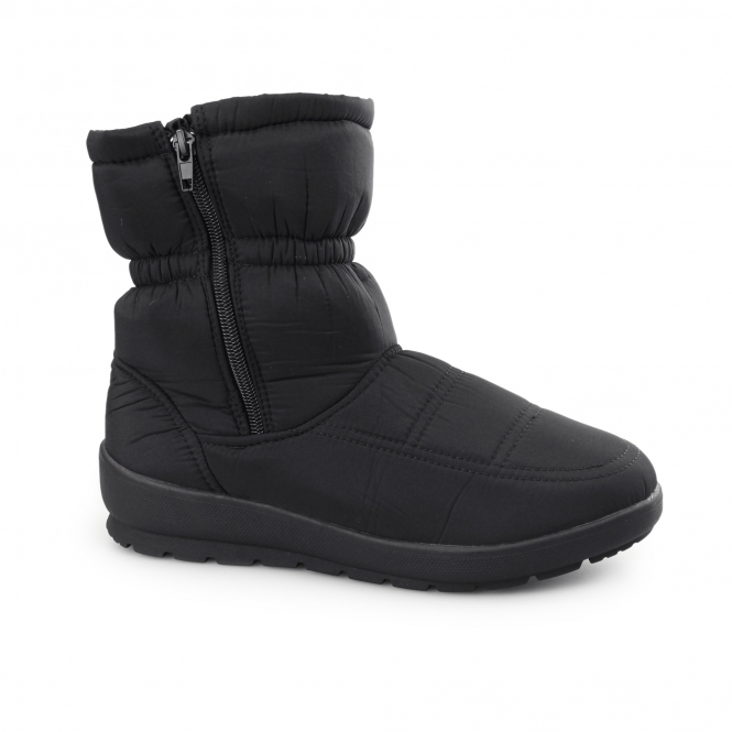 Dr Keller LIGHTNING Ladies Warm Lined Winter Snow Ankle Boots Black